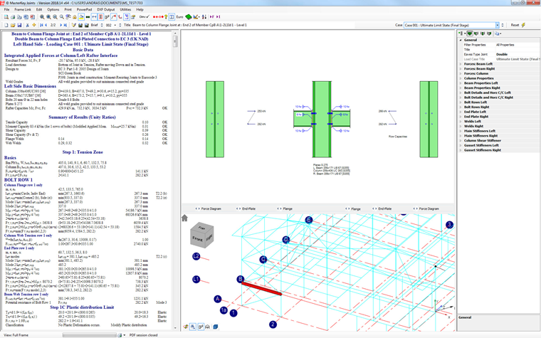 Integrated steel connection design within the 3D frame analysis