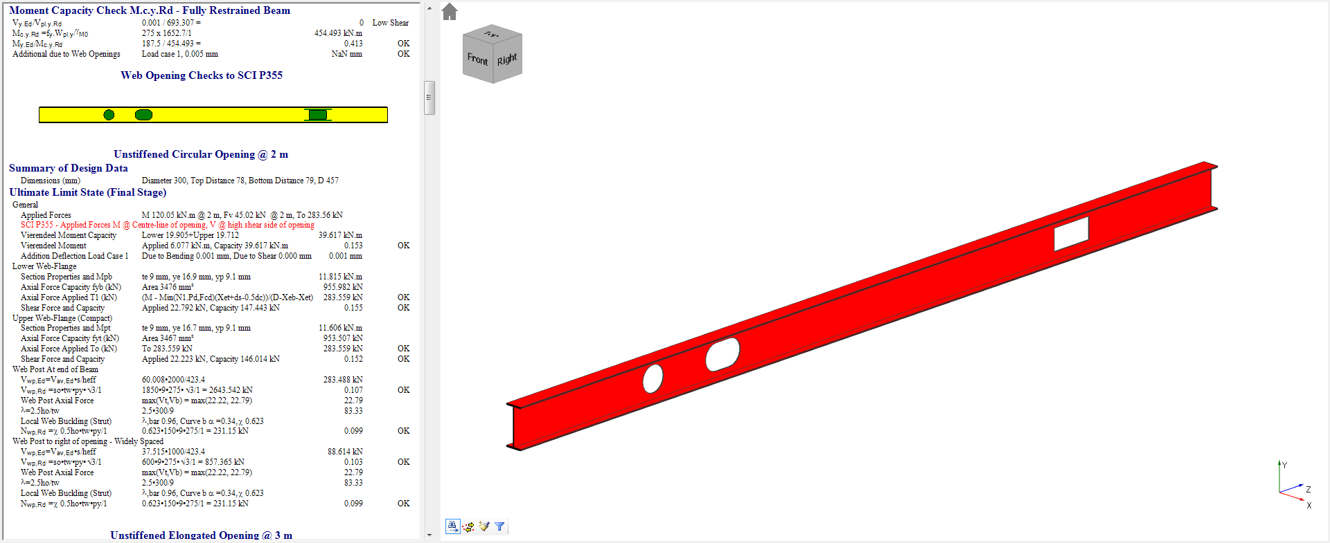 Integrated steel beam design with web openings