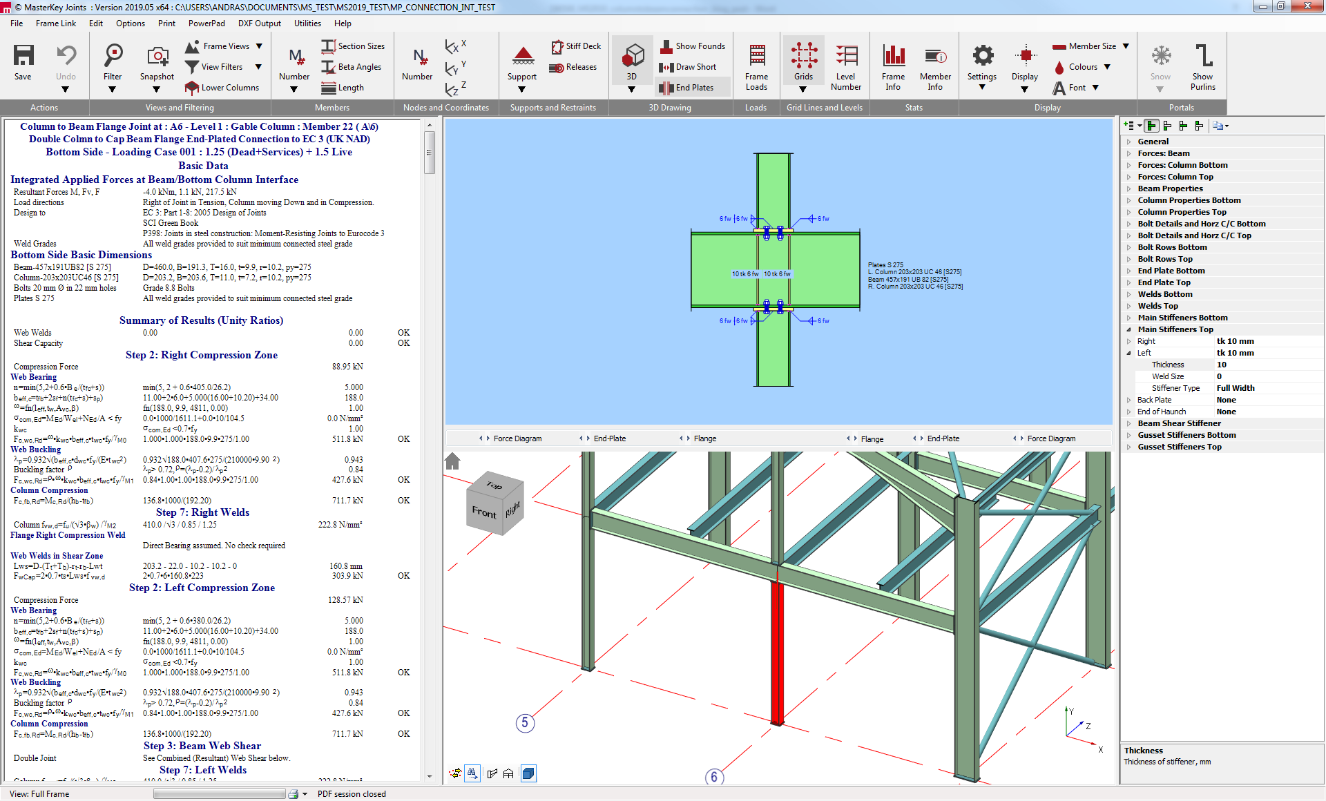 MasterSeries 3D structural model connection integration