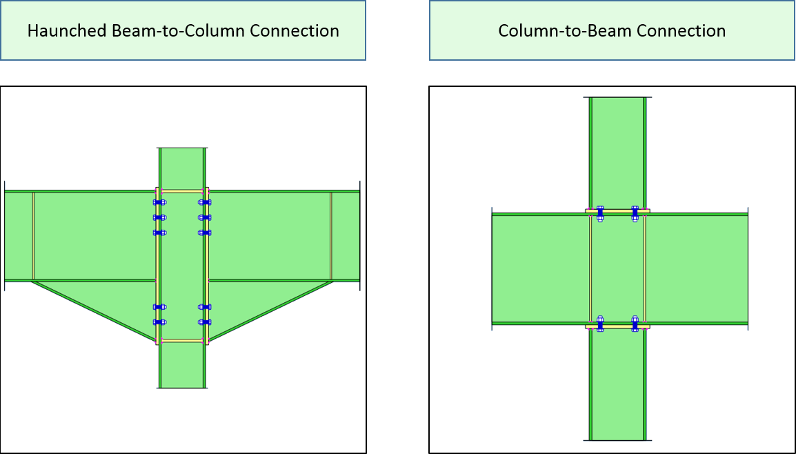 MasterSeries Beam-to-Column and Column-to-Beam Connection types
