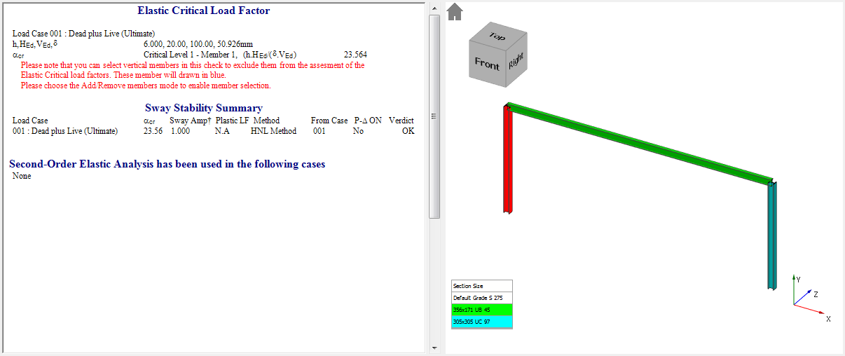 MasterFrame simplified elastic critical load factor calculation to Eurocode 3