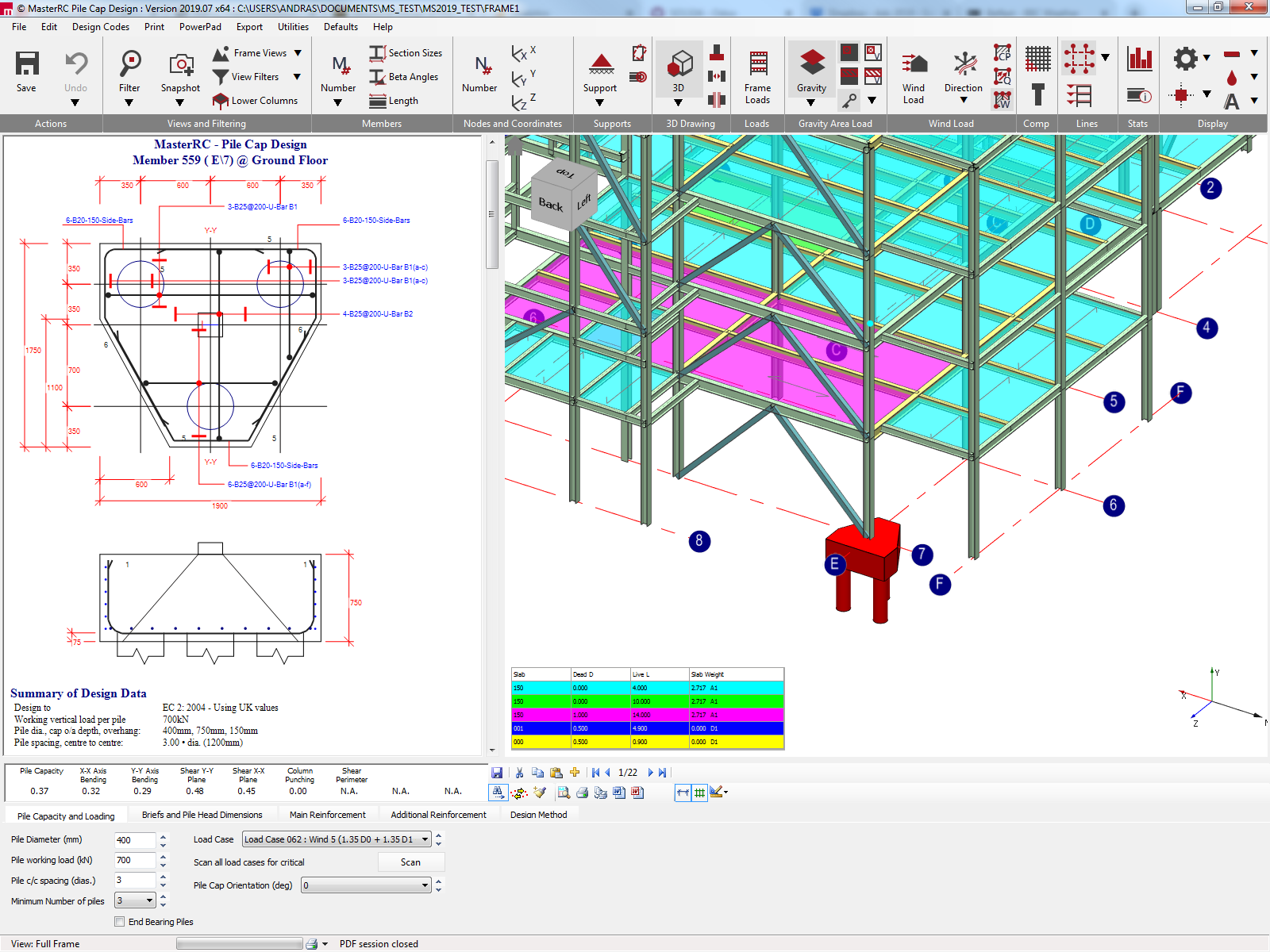 Integrated pile cap analysis and design in MasterFrame