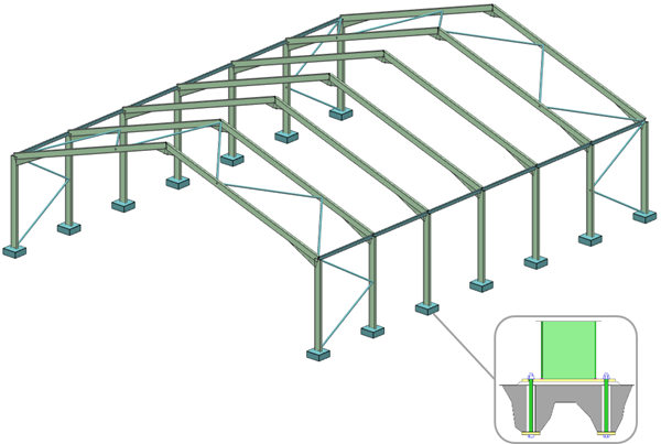 Steel portal frame with typical four-bolt column base