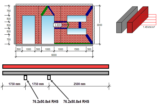 Masonry wall design with multiple openings and windpost to Eurocode