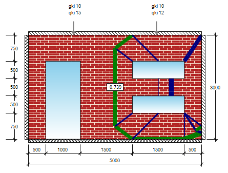 Complex yield-line pattern of a laterally loaded masonry wall
