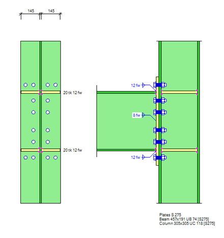 Symmetric, extended end-plate steel connection with four bolts in a row