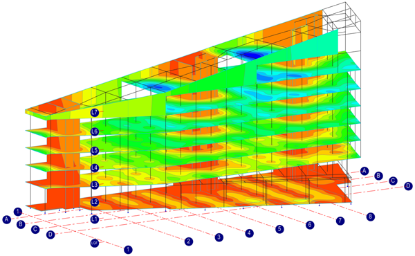 Displacement result from finite element analysis