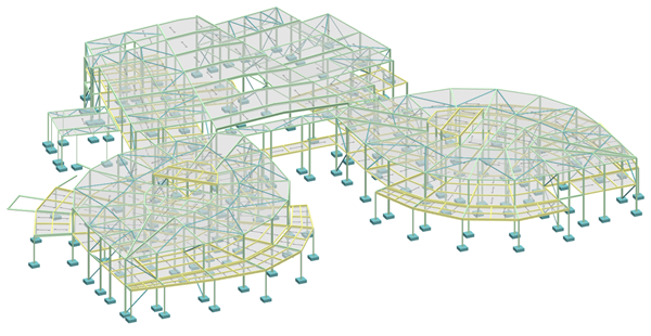 3D multi material building model in MasterFrame