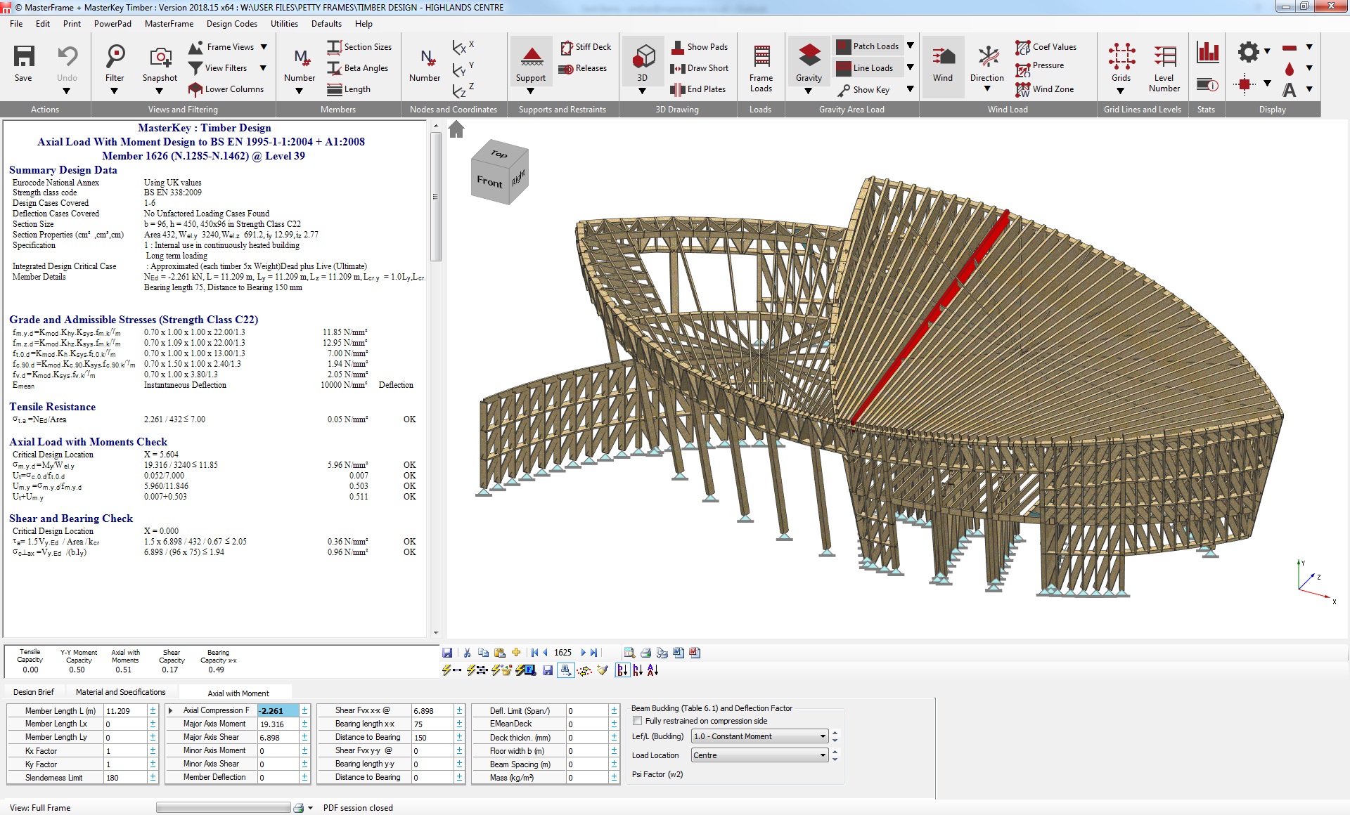 Integrated 3d timber structure analysis and design according to the Eurocode 5