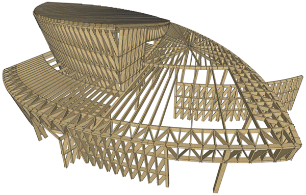 Analysis and design of a freeform timber structure