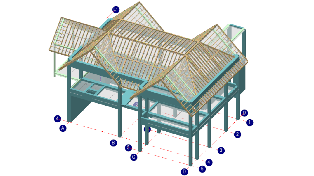 MasterFrame 3d timber-concrete building with canopies