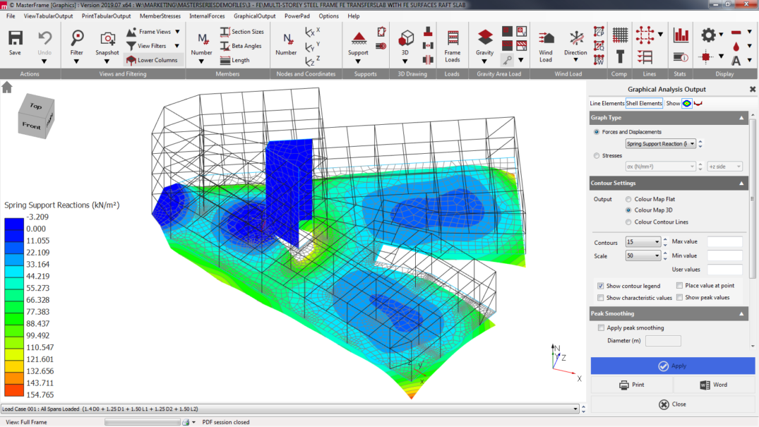 MasterFrame finite element analysis result - spring support reactions