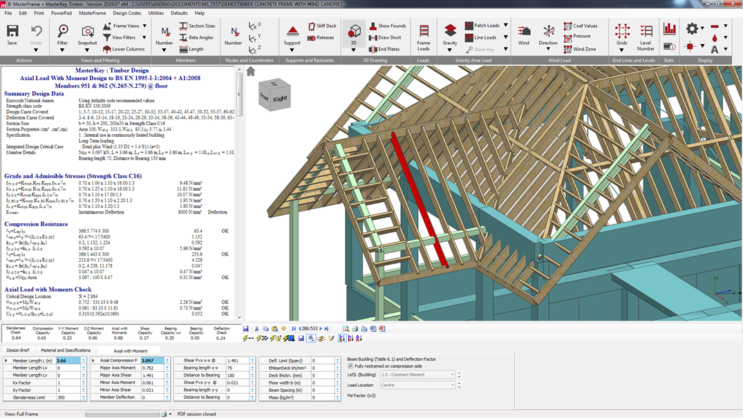 Integrated analysis and design of a timber beam to Eurocode 5