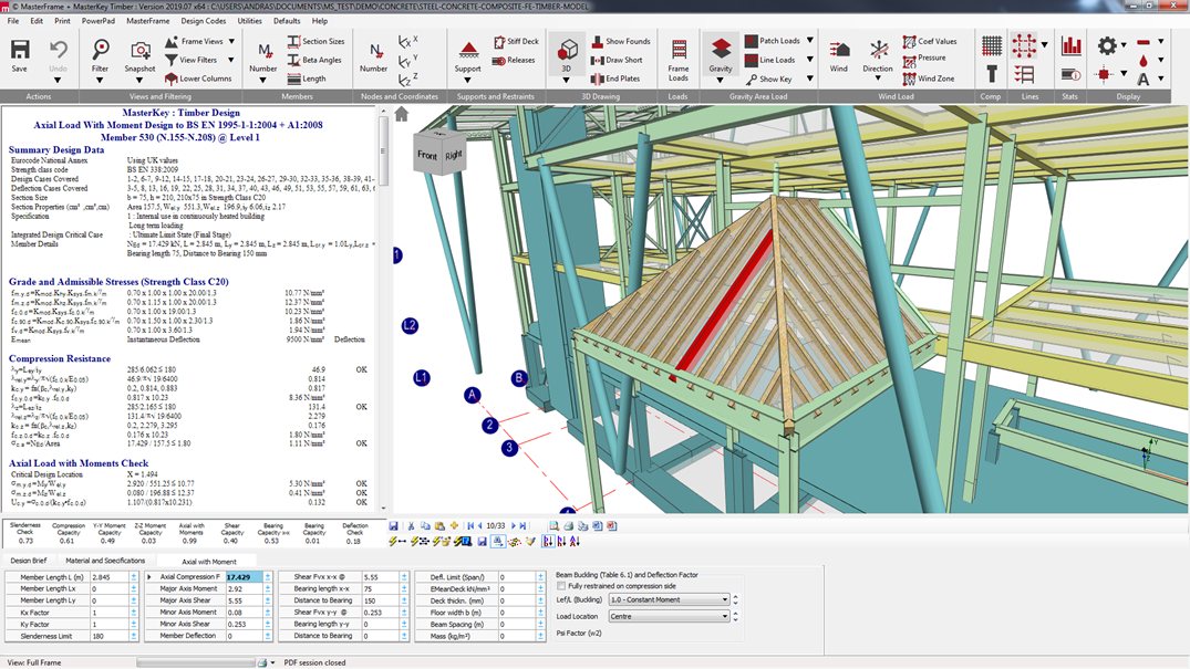 Integrated design of a timber roof to Eurocode 5