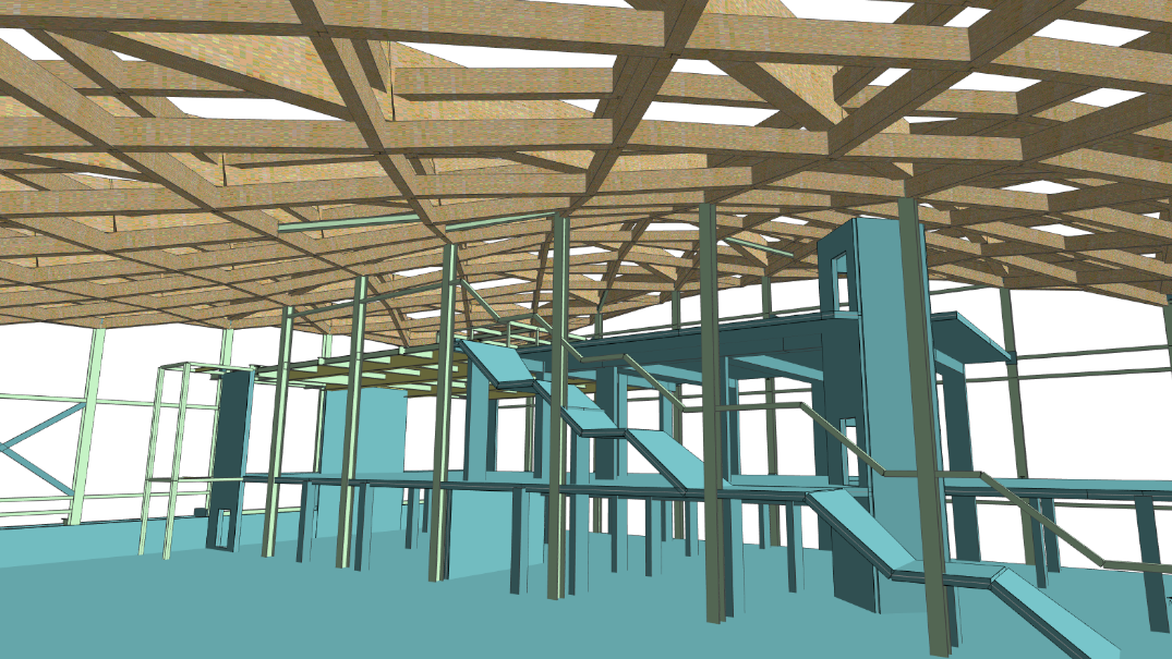 Integrated analysis and design of a double curvature timber frame roof with MasterFrame
