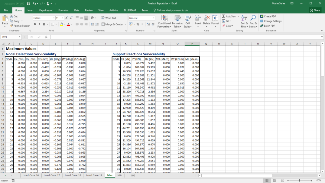 Example Results Export to MS Excel