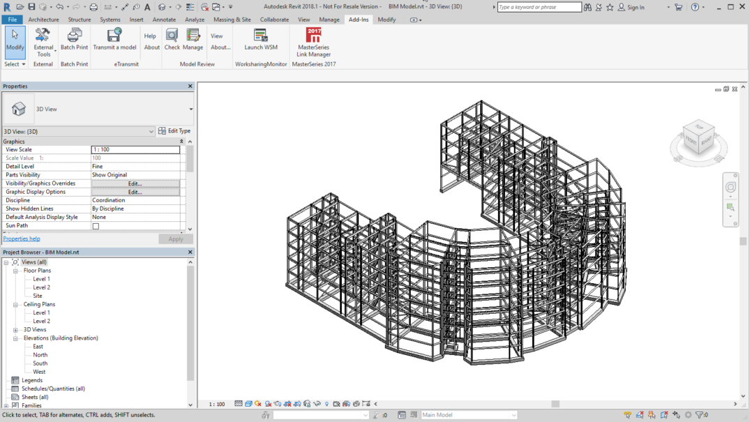 Large 3D Concrete BIM model imported to Revit from MasterSeries