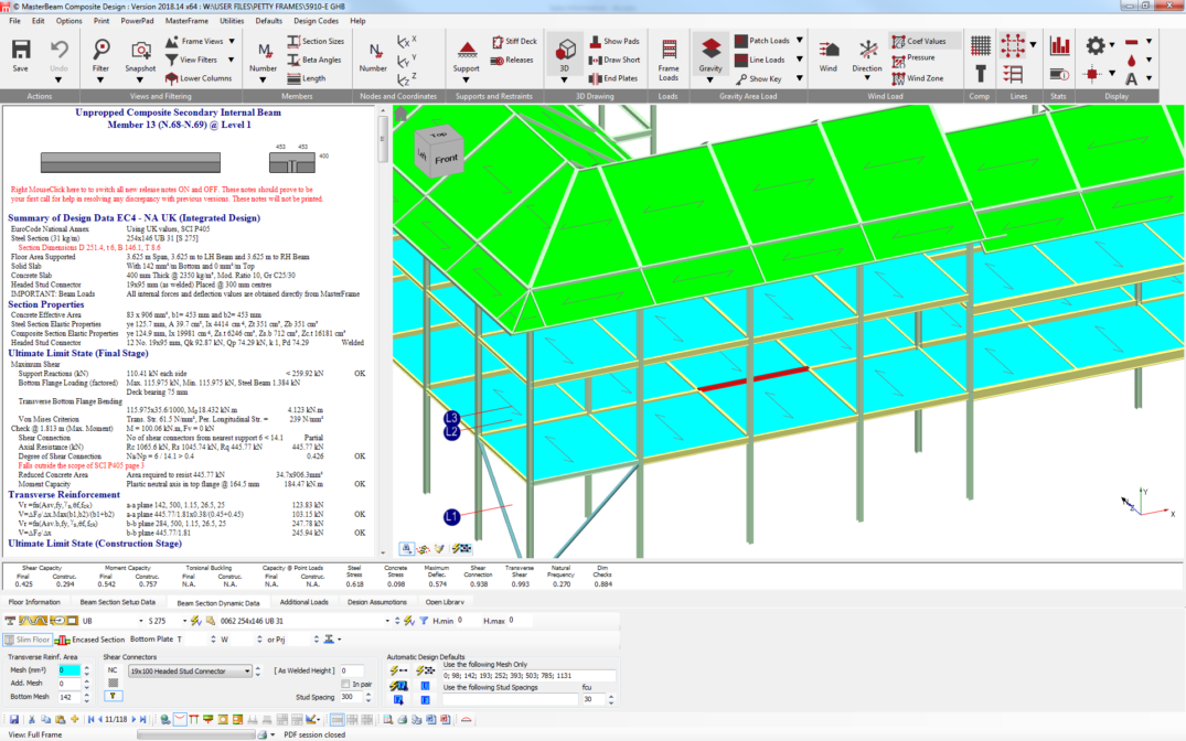 Integrated 3D frame analysis and design with Slimfloor Composite Beams