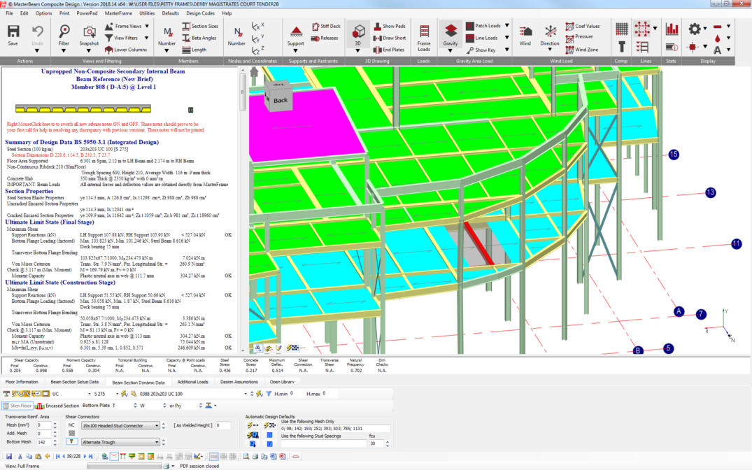 Integrated 3D frame analysis and design with Slimfloor Deep Profiled Decking