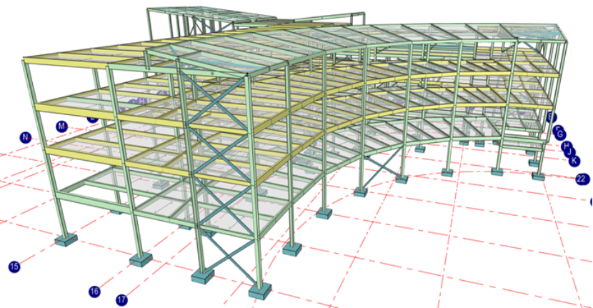 Multi story composite structure analysis model