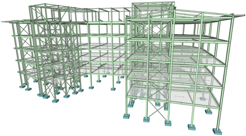 Multi level steel structure model with area loading panels