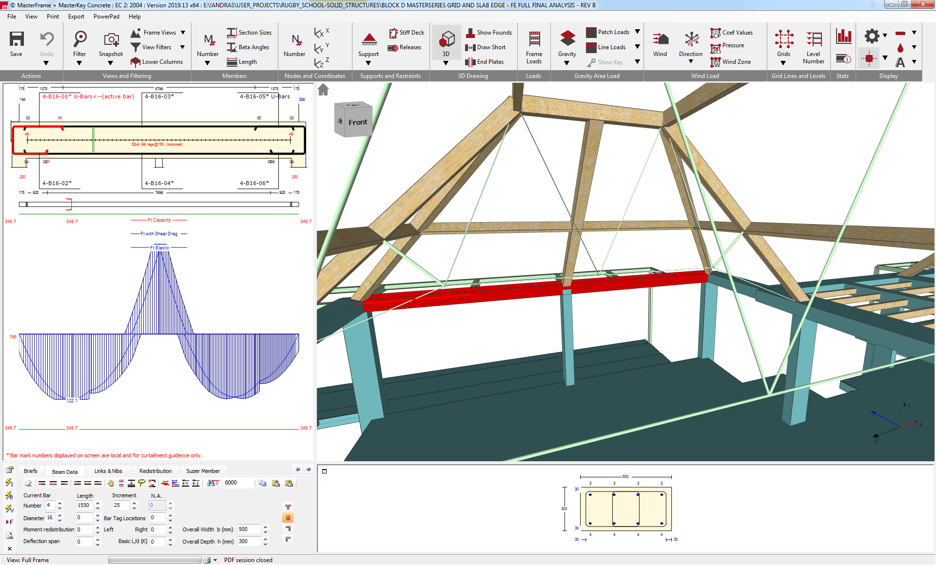 Design of the reinforced concrete ring beams