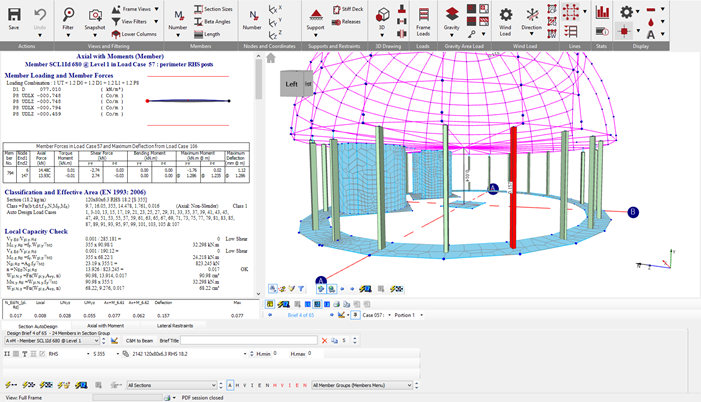 Design of the steel hollow section columns