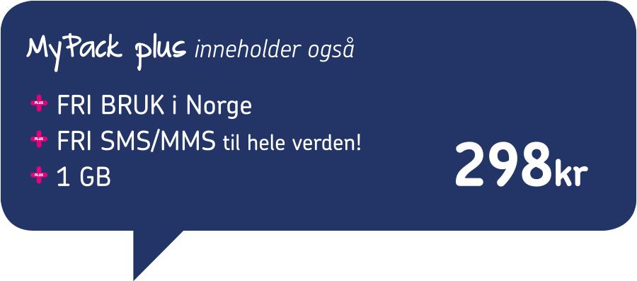 MyPack Plus inneholder også Fri Bruk i Norge, Fri SMS og MMS til hele verden og 1 GB til kun 298 kr.
