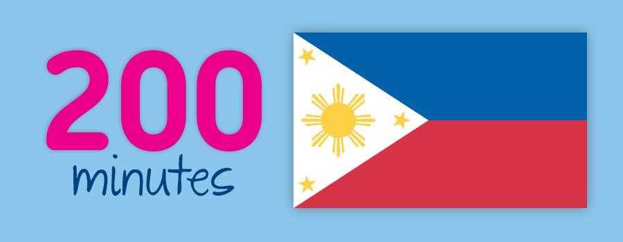 200 minutter til Filippinene inkludert.