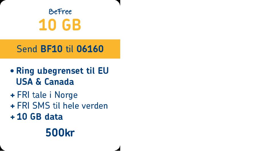 BeFree 10 GB pakkeprodukt