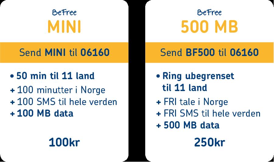 BeFree MINI og 500 MB pakkeladekort