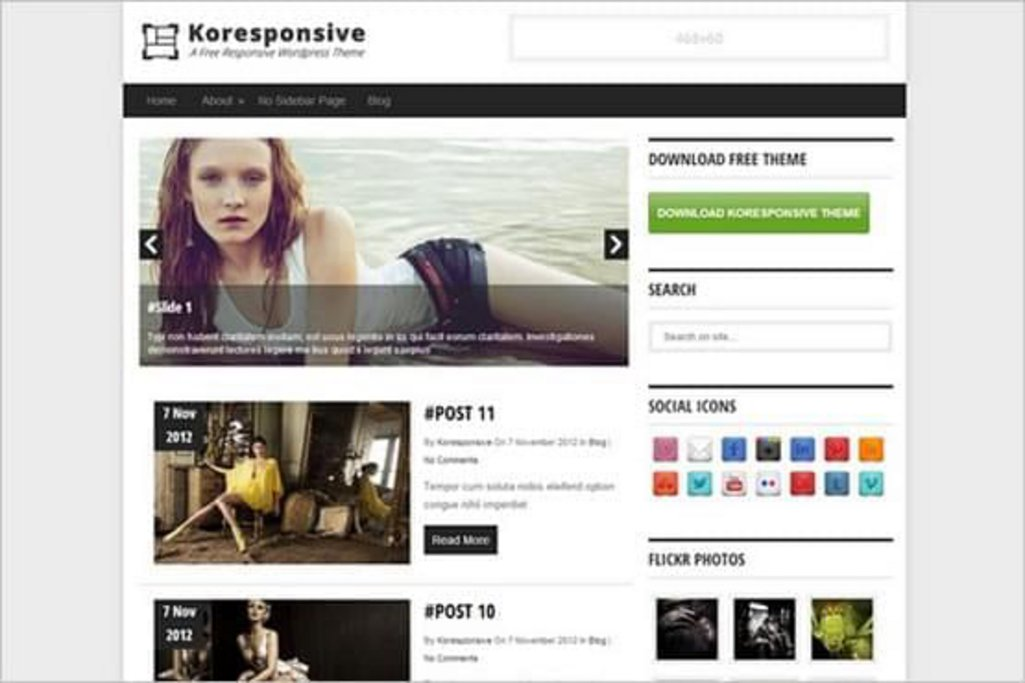 Koresponsive - template WordPress gratuit responsive