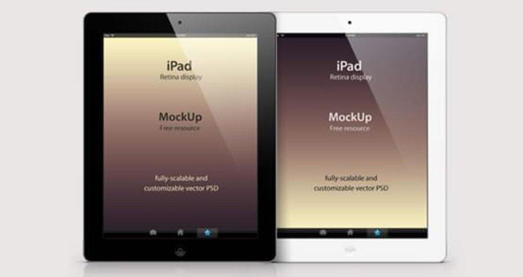 Mockup iPad 3 noir et blanc vue portrait et paysage