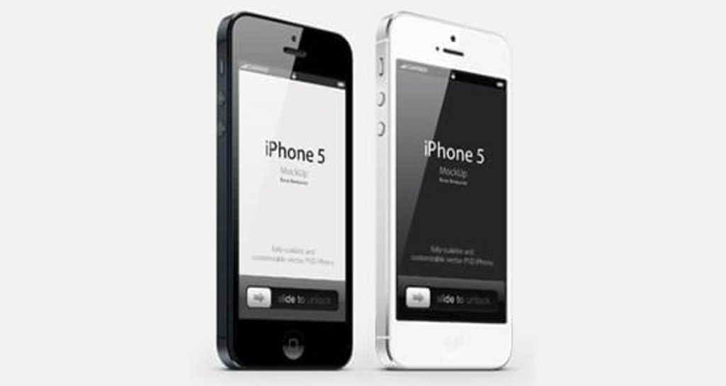 Mockup iPhone 5 noir et blanc vue 3/4