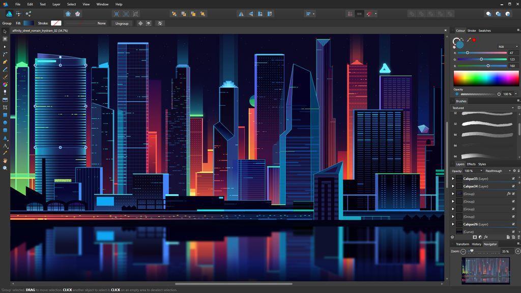 Capture - Affinity Designer - performance, expérience utilisateur et tarif