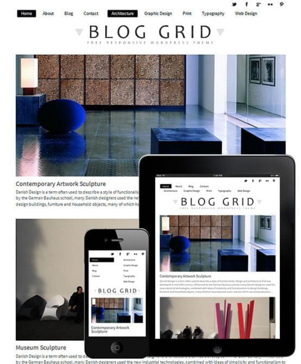 Blog grid - template WordPress gratuit responsive