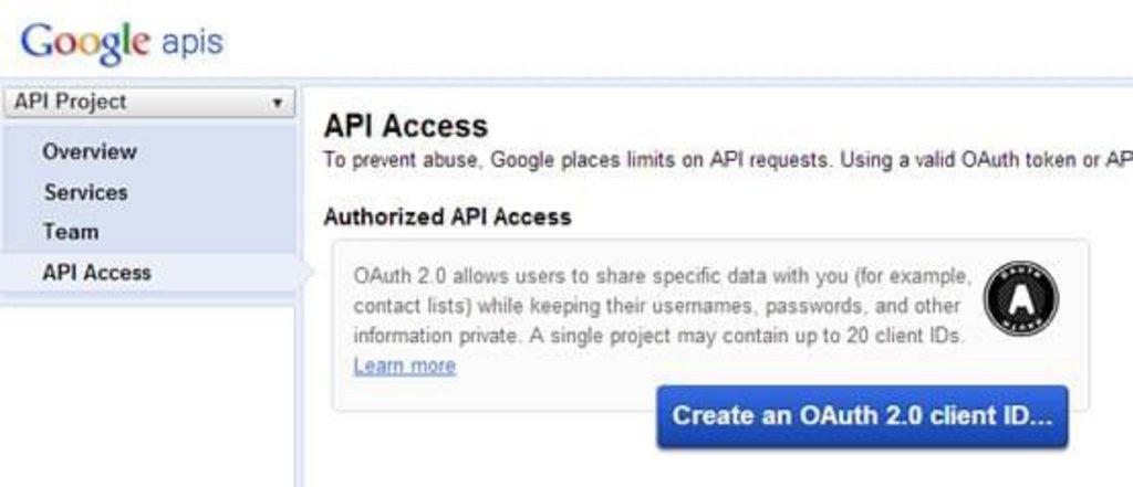 Etape 2-1 : Configurer votre compte Google pour donner accès à l'API