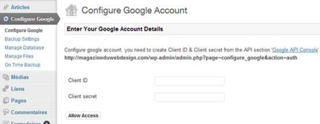 Etape 2 - Configurer votre compte Google pour donner accès à l'API
