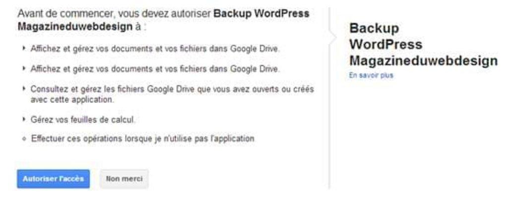 Etape 4 : Autoriser l'accès pour la sauvegarde WordPress
