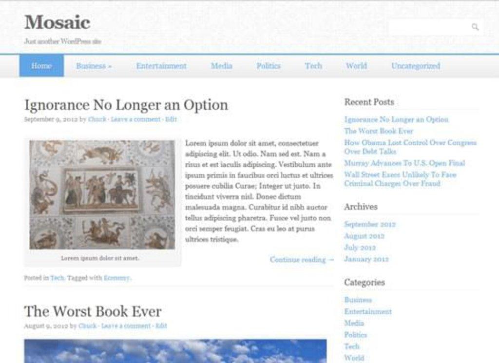 Mosaic - template WordPress gratuit responsive