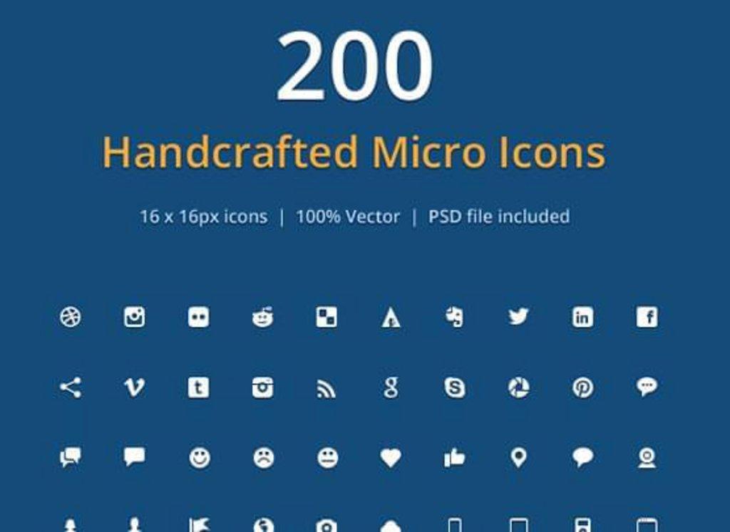 pack 200 icônes gratuites psd icon font