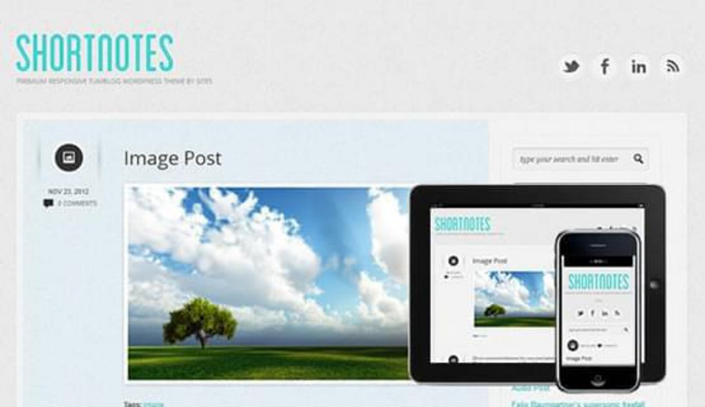 Shortnotes - template WordPress gratuit responsive