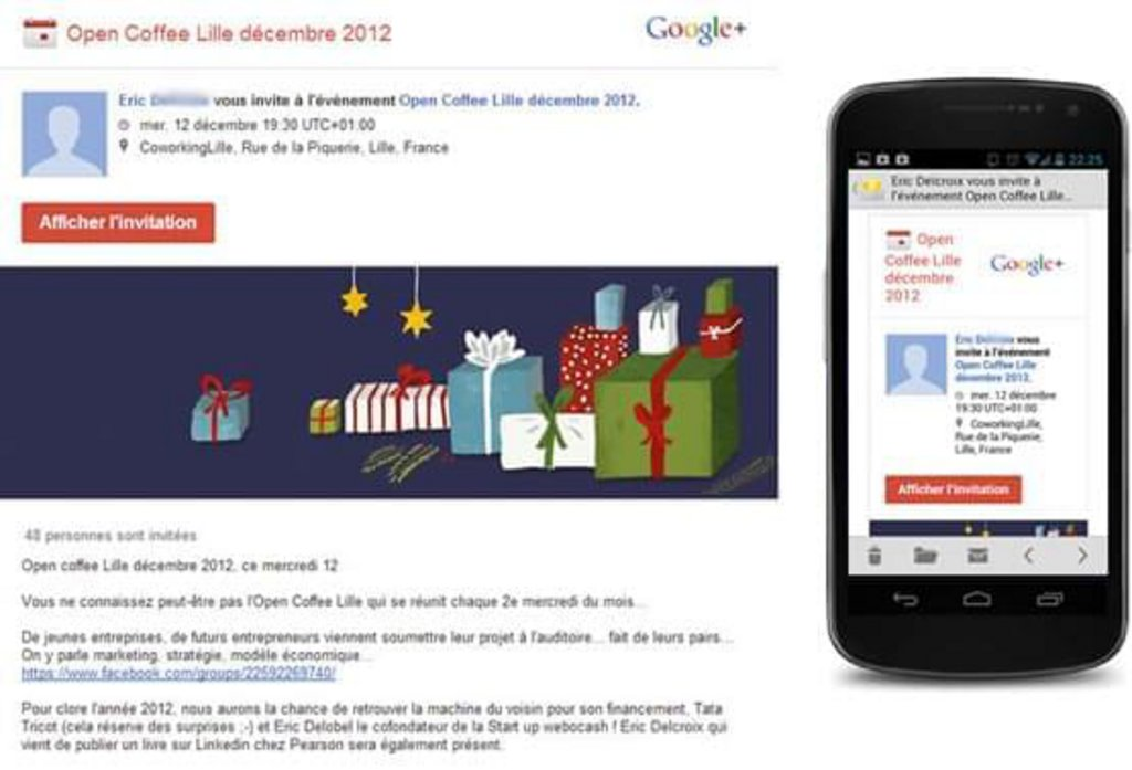 Template mail mobile Google+ Event