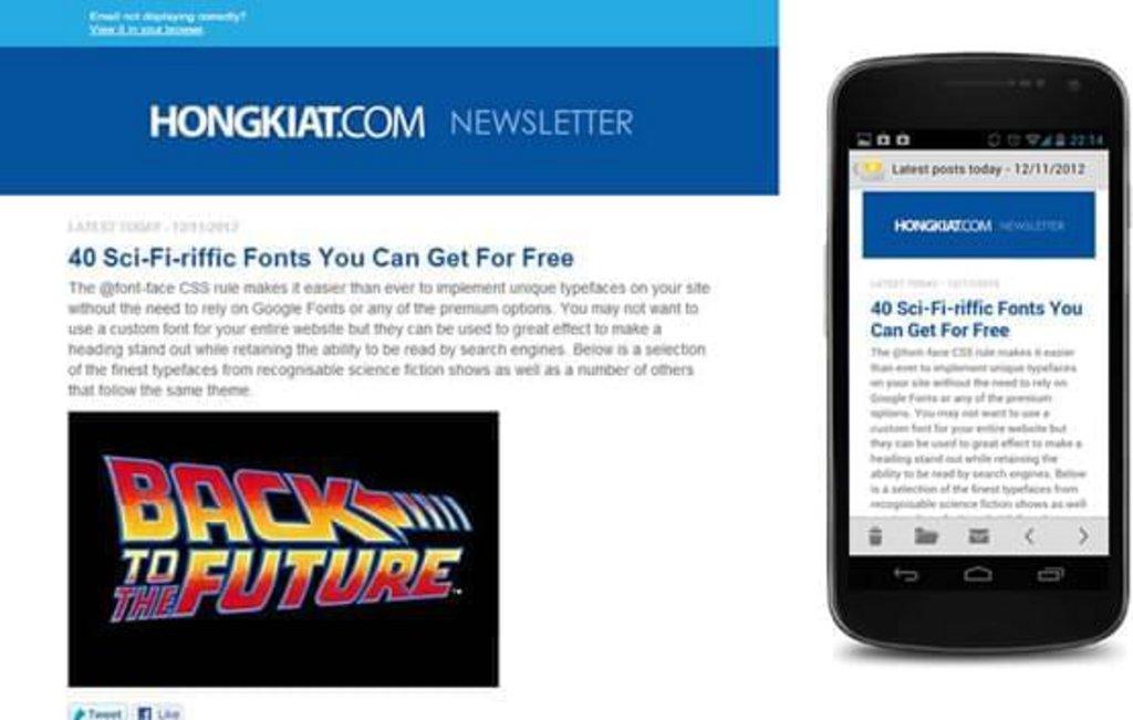 Template mail mobile Hongkiat