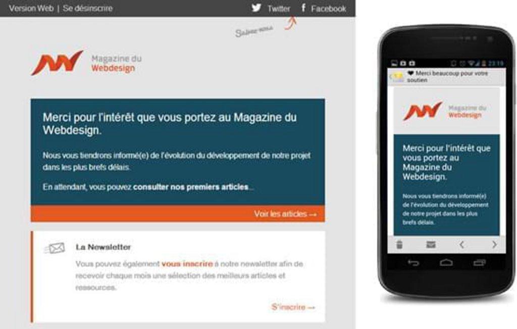 Template mail mobile Magazine du Webdesign