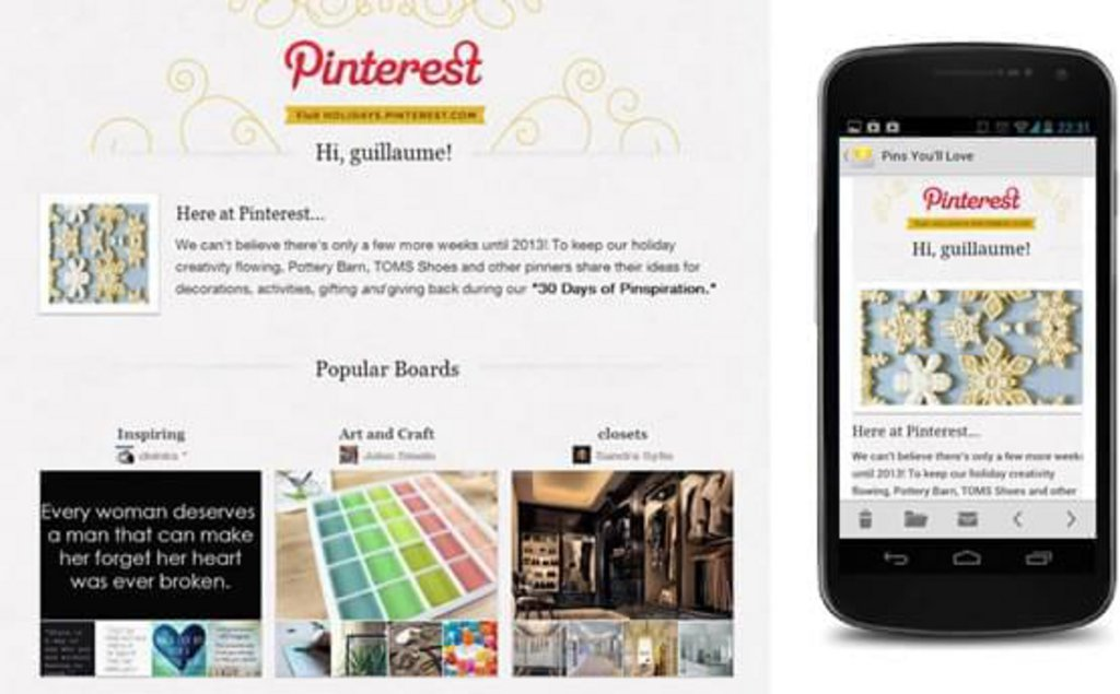 Template mail mobile Pinterest