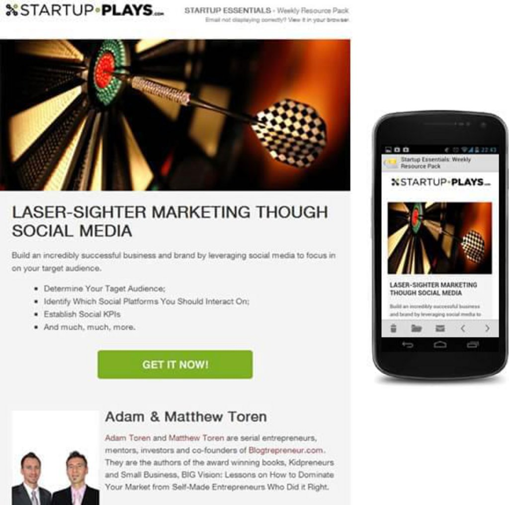 Template mail mobile Startup Play