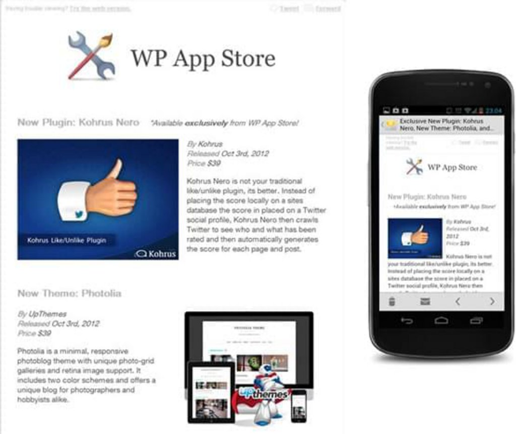 Template mail mobile WP App Store