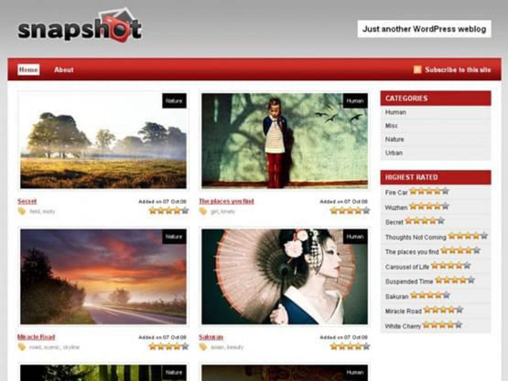 thème wordpress gratuit snapshot