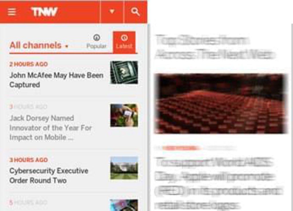 TheNextWeb - version mobile responsive